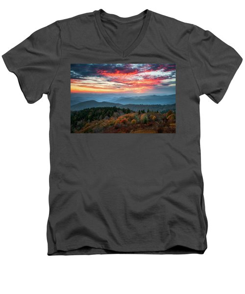 Blue Ridge Parkway Autumn Sunset Scenic Landscape Asheville Nc Men's V-Neck T-Shirt