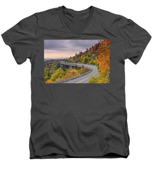 Lynn Cove Viaduct-blue Ridge Parkway  Men's V-Neck T-Shirt