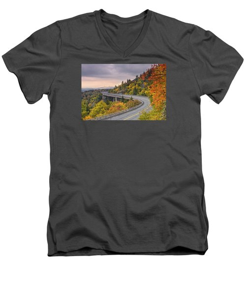 Lynn Cove Viaduct-blue Ridge Parkway  Men's V-Neck T-Shirt