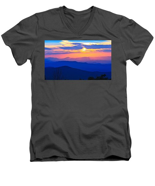 Blue Ridge Parkway Sunset, Va Men's V-Neck T-Shirt
