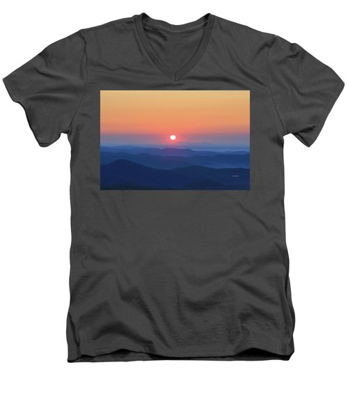 Blue Ridge Sunrise Men's V-Neck T-Shirt by Dale R Carlson
