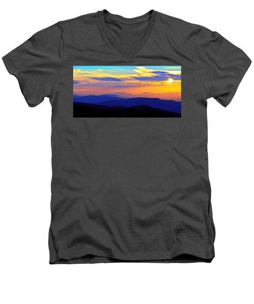 Blue Ridge Sunset, Virginia Men's V-Neck T-Shirt by The American Shutterbug Society