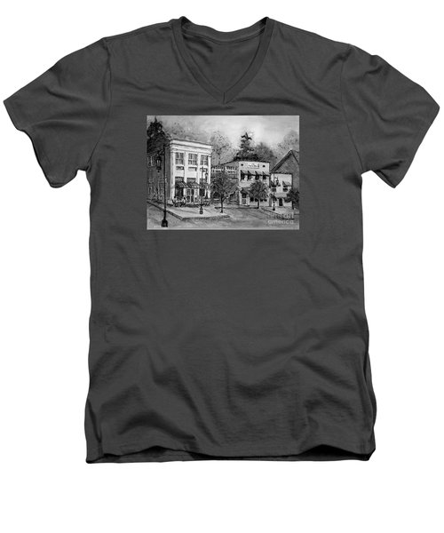 Men's V-Neck T-Shirt featuring the painting Blue Ridge Town In Bw by Gretchen Allen