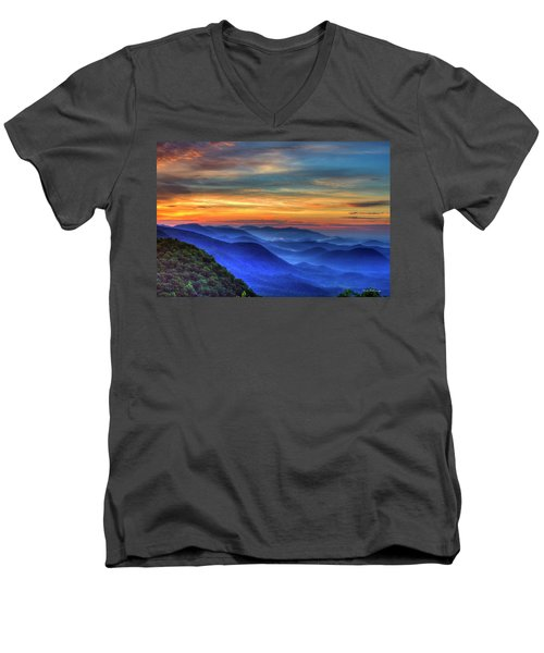 Men's V-Neck T-Shirt featuring the photograph Blue Ridges 2 Pretty Place Chapel View Great Smoky Mountains Art by Reid Callaway