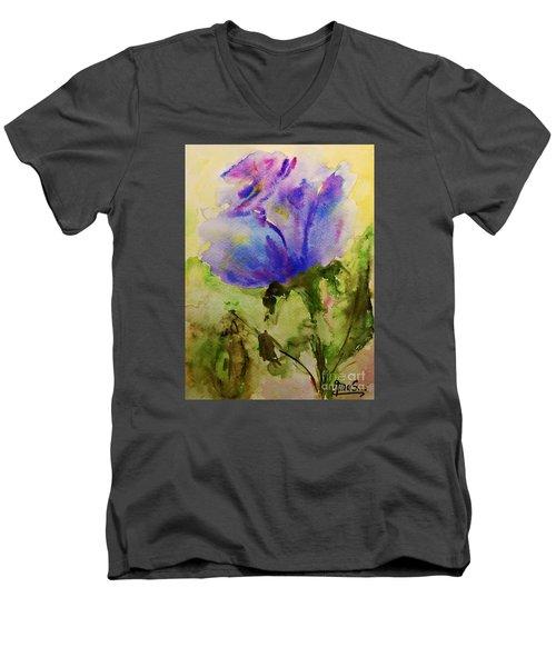Blue Rose Watercolor Men's V-Neck T-Shirt by AmaS Art