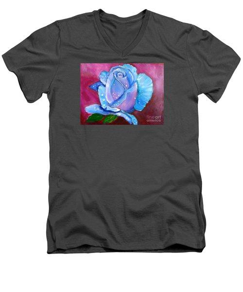 Blue Rose With Dew Drops Men's V-Neck T-Shirt by Jenny Lee