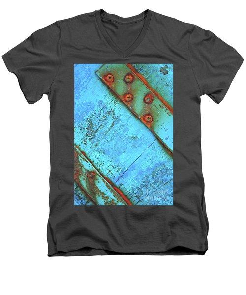 Blue Rusty Boat Detail Men's V-Neck T-Shirt