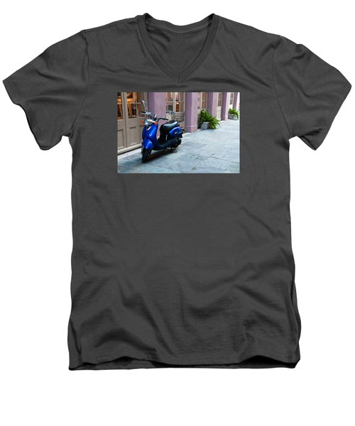 Men's V-Neck T-Shirt featuring the photograph Blue Scooter by Monte Stevens
