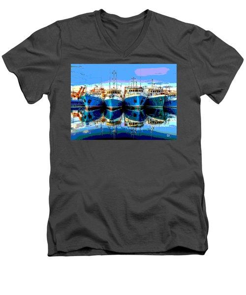 Blue Shrimp Boats Men's V-Neck T-Shirt by Charles Shoup
