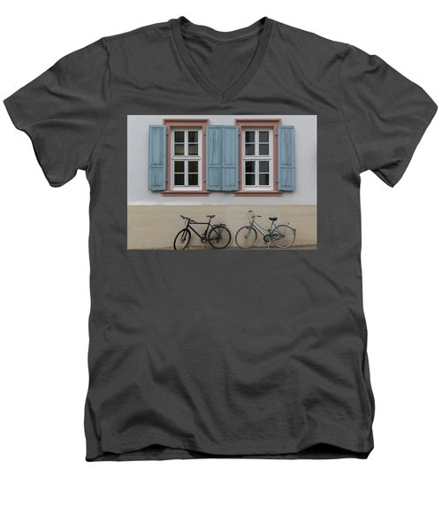 Blue Shutters And Bicycles Men's V-Neck T-Shirt
