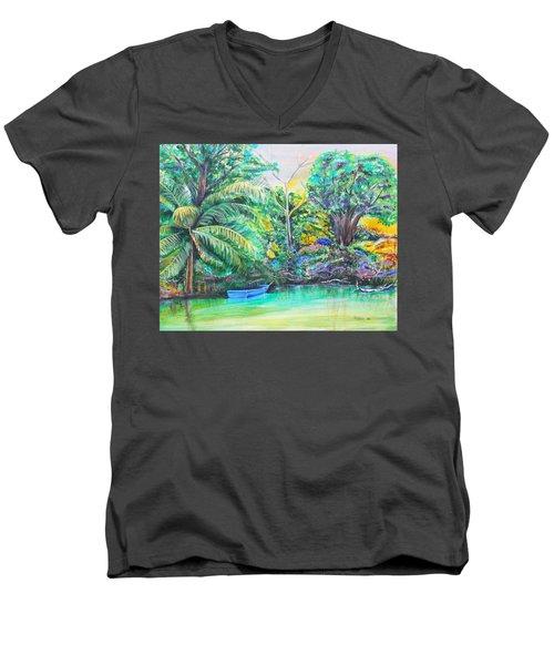 Blue Skiff Men's V-Neck T-Shirt