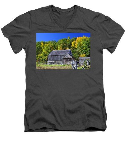 Blue Sky Autumn Barn Men's V-Neck T-Shirt