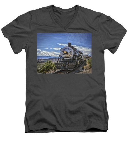 Men's V-Neck T-Shirt featuring the photograph Blue Sky Nevada. by Mitch Shindelbower