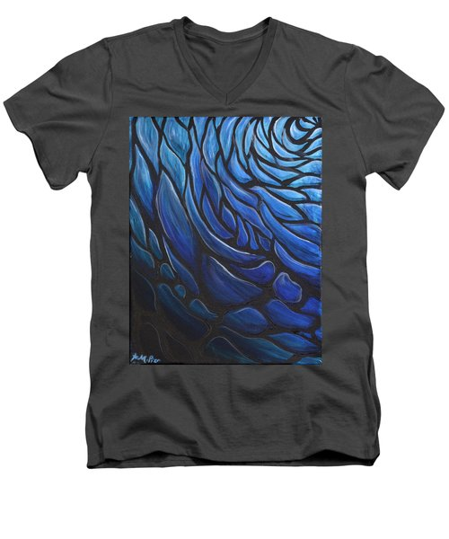Blue Stained Glass Men's V-Neck T-Shirt