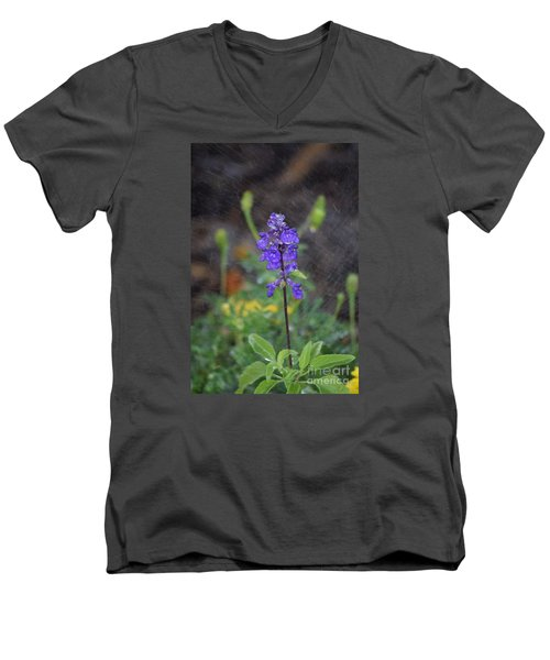 Blue Standing Men's V-Neck T-Shirt