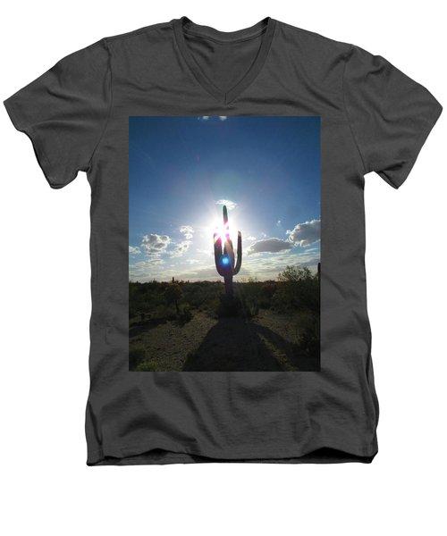 Blue Star Saguaro Men's V-Neck T-Shirt by Brenda Pressnall