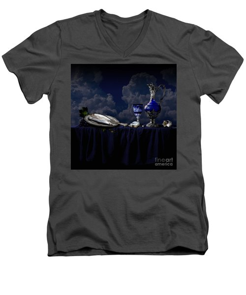 Men's V-Neck T-Shirt featuring the photograph Blue Still Life by Alexa Szlavics