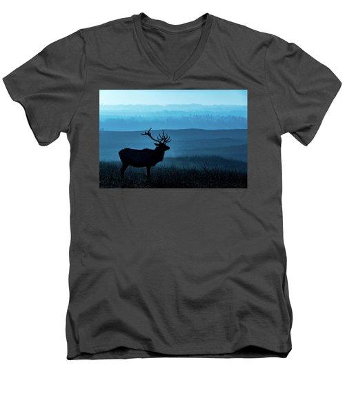 Blue Sunrise Men's V-Neck T-Shirt by Jay Stockhaus