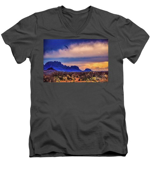 Blue Sunset Nm-az Men's V-Neck T-Shirt by Diana Mary Sharpton