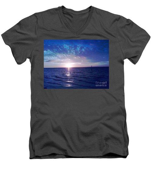 Blue Sunset Men's V-Neck T-Shirt by Vicky Tarcau