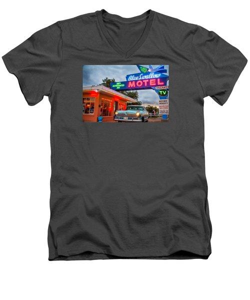 Blue Swallow Motel On Route 66 Men's V-Neck T-Shirt by Steven Bateson