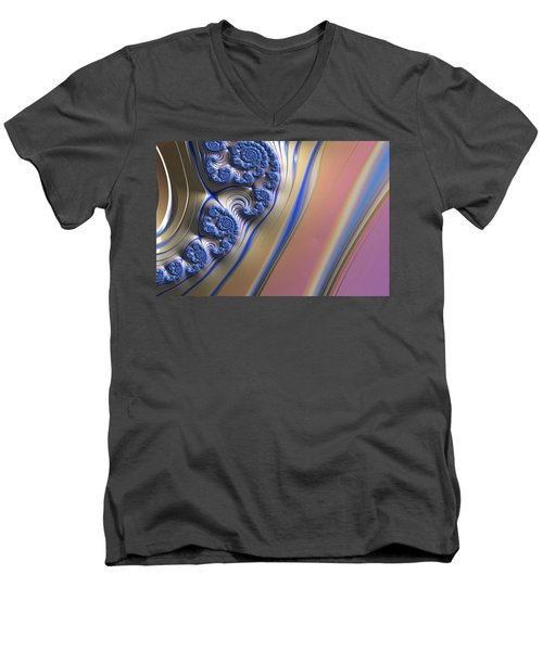 Men's V-Neck T-Shirt featuring the digital art Blue Swirly Fractal 2 by Bonnie Bruno