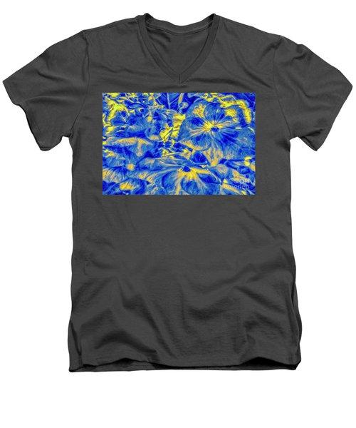 Blue Tango Floral Men's V-Neck T-Shirt