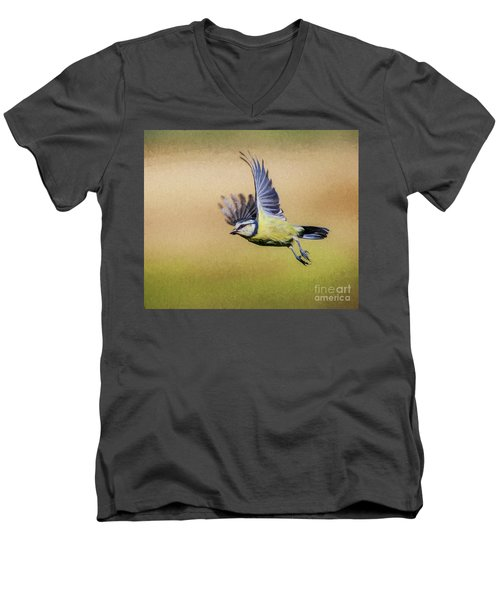 Blue Tit In Flight Men's V-Neck T-Shirt