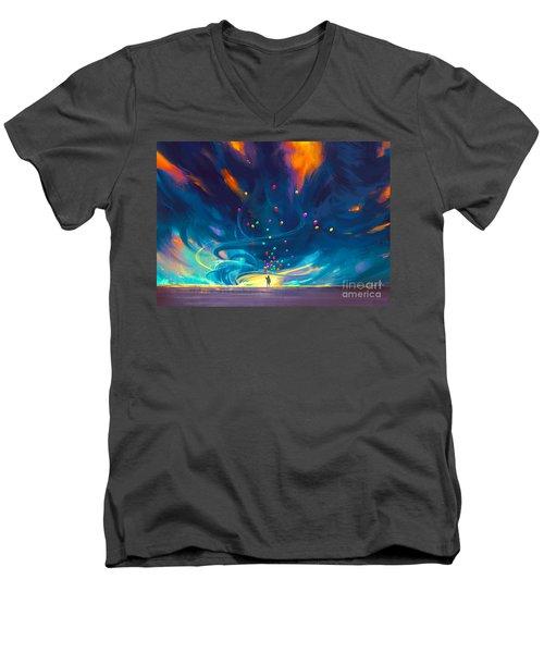 Blue Tornado Men's V-Neck T-Shirt
