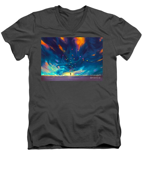 Blue Tornado Men's V-Neck T-Shirt