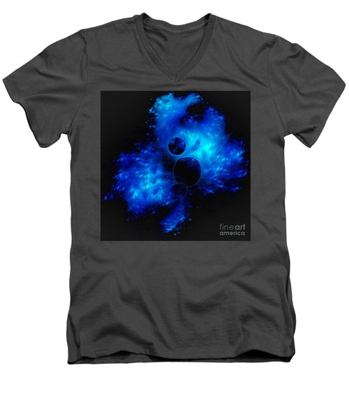 Blue Universe Fractal Men's V-Neck T-Shirt