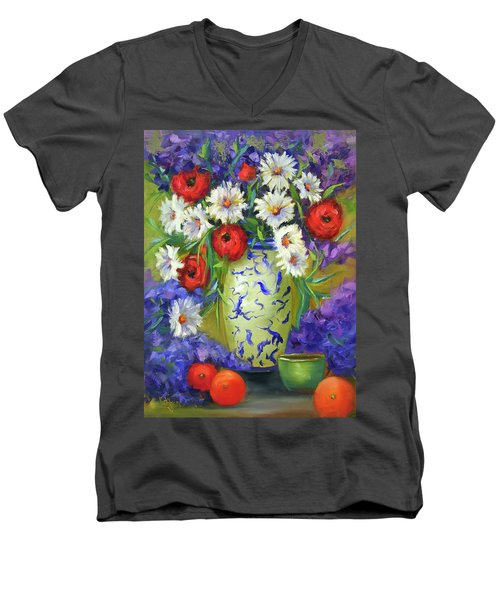 Blue Vase Flowers Men's V-Neck T-Shirt