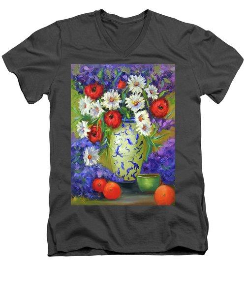 Blue Vase Flowers Men's V-Neck T-Shirt