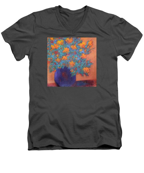 Blue Vase Men's V-Neck T-Shirt by Nancy Jolley