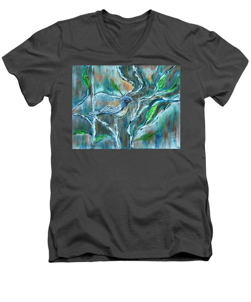 Blue Warbler In Birch Men's V-Neck T-Shirt