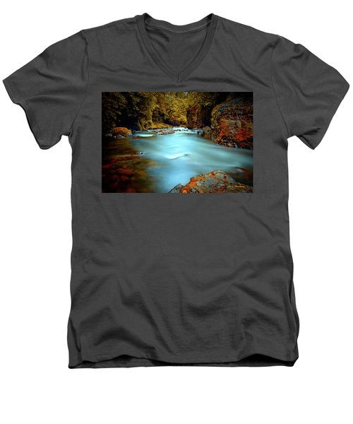 Blue Water And Rusty Rocks Signed Men's V-Neck T-Shirt