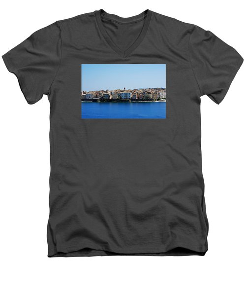 Blue Waters Of Corfu Men's V-Neck T-Shirt by Robert Moss