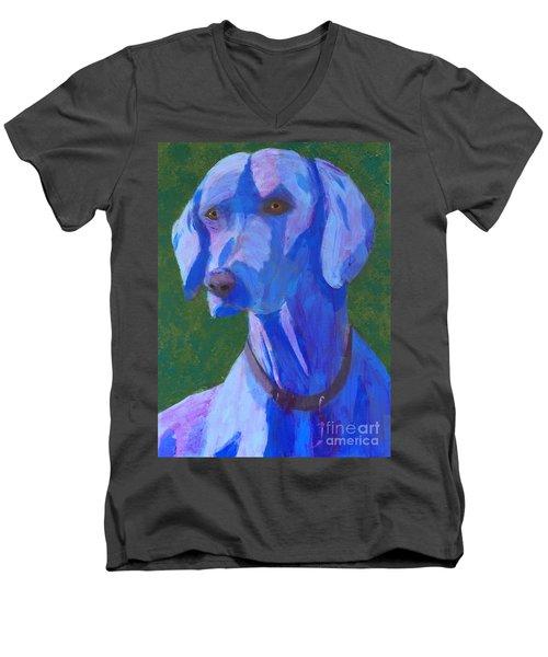 Blue Weimaraner Men's V-Neck T-Shirt by Donald J Ryker III