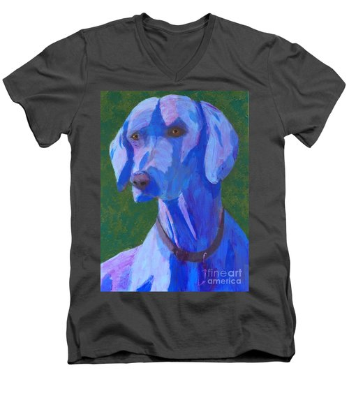 Blue Weimaraner Men's V-Neck T-Shirt