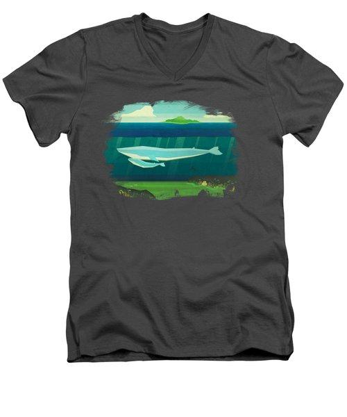 Blue Whale Men's V-Neck T-Shirt by David Ardil