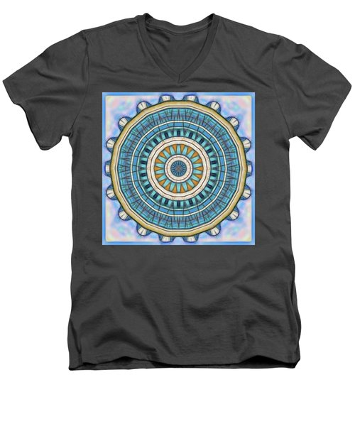 Men's V-Neck T-Shirt featuring the digital art Blue Wheeler 1 by Wendy J St Christopher