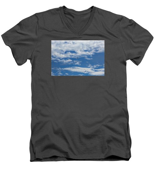 Men's V-Neck T-Shirt featuring the photograph Blue White by Leif Sohlman