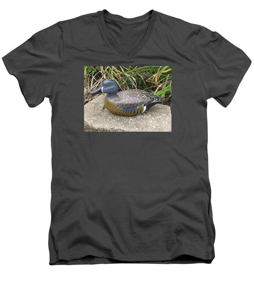 Blue-winged Duck Men's V-Neck T-Shirt by Kevin F Heuman