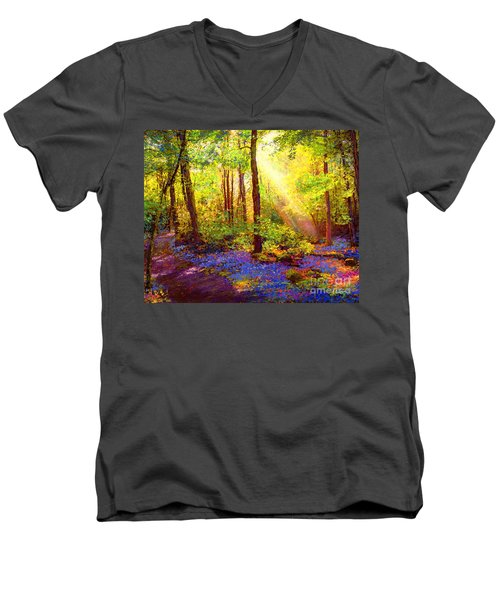 Men's V-Neck T-Shirt featuring the painting Bluebell Blessing by Jane Small