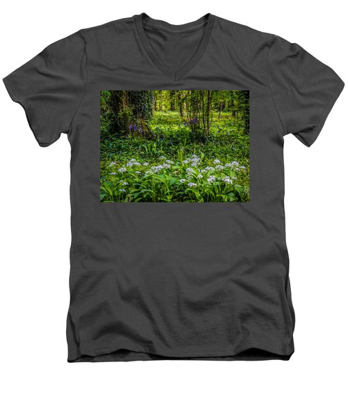 Bluebells And Wild Garlic At Coole Park Men's V-Neck T-Shirt