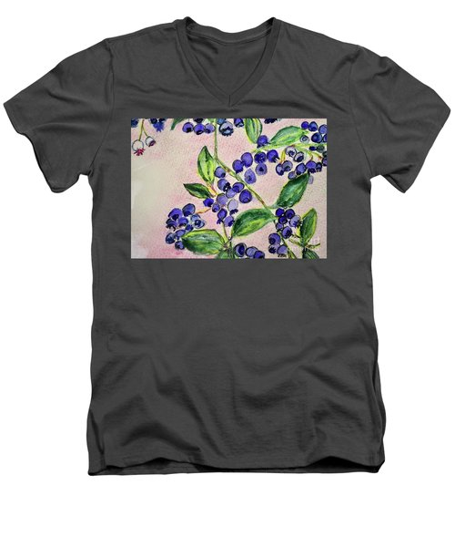Blueberries Men's V-Neck T-Shirt by Kim Nelson