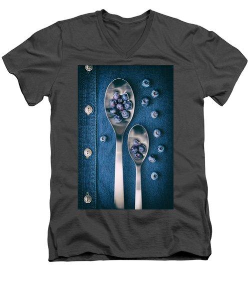 Blueberries On Denim I Men's V-Neck T-Shirt by Tom Mc Nemar