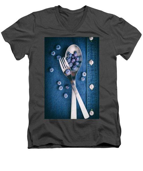 Blueberries On Denim II Men's V-Neck T-Shirt by Tom Mc Nemar