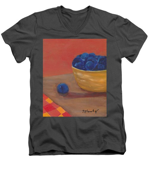 Blueberries Yellow Bowl Men's V-Neck T-Shirt by Patricia Cleasby