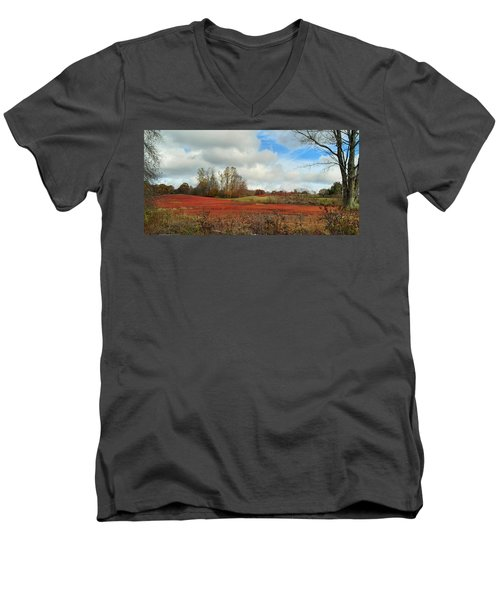 Blueberry Fields Men's V-Neck T-Shirt by Jewels Blake Hamrick